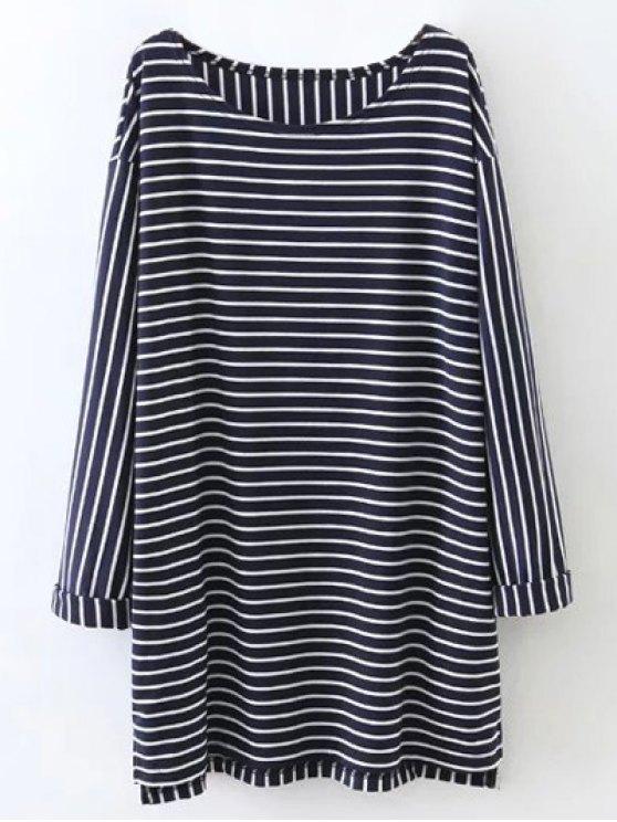 Oversized Striped T-Shirt - PURPLISH BLUE M Mobile