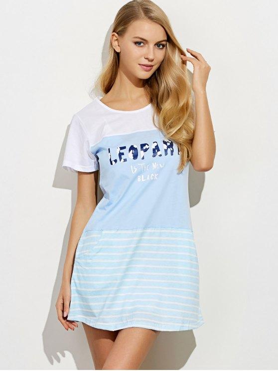 Short Sleeved Lounge Tee Dress - LIGHT BLUE M Mobile