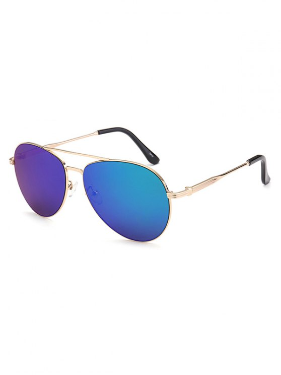 Metal Crossbar Pilot Mirrored Sunglasses - BLUE  Mobile