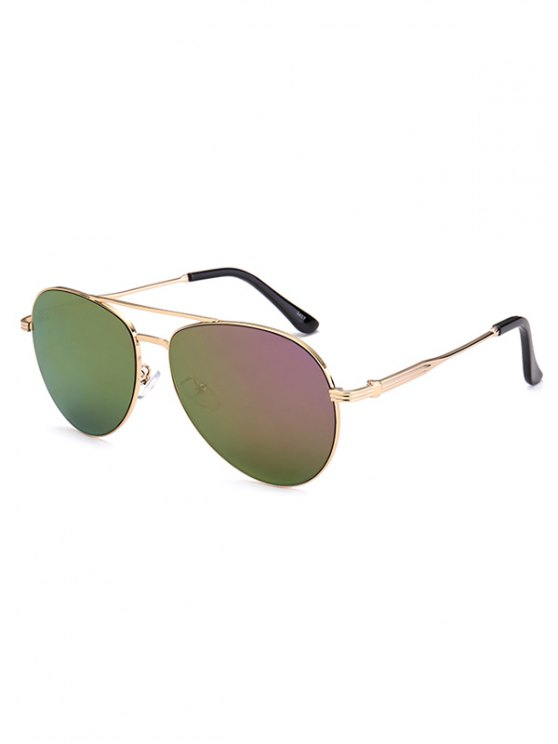 Metal Crossbar Pilot Mirrored Sunglasses - LIGHT PURPLE  Mobile