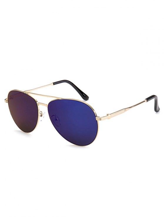 Metal Crossbar Pilot Mirrored Sunglasses - DEEP BLUE  Mobile