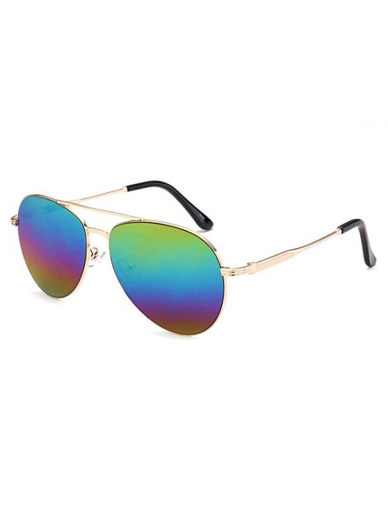 Metal Crossbar Pilot Mirrored Sunglasses - COLORFUL  Mobile