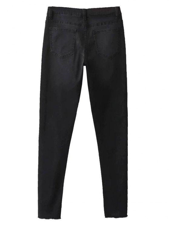 Frayed Tapered Slim Jeans - BLACK 36 Mobile