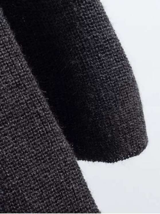 Long Sleeve Knitting Midi Dress - GRAY ONE SIZE Mobile