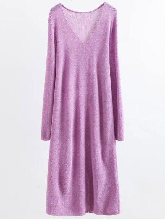Long Sleeve Knitting Midi Dress - PURPLE ONE SIZE Mobile