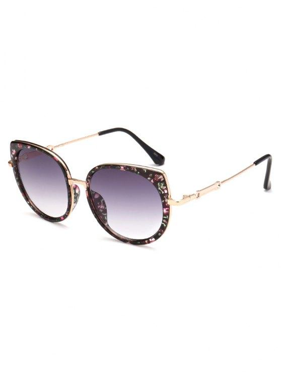 Full Rims Floral Cat Eye Sunglasses - BLACK  Mobile