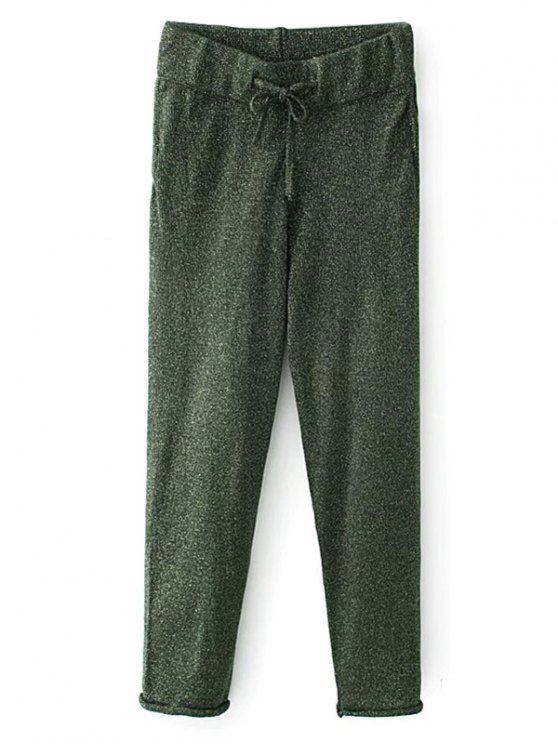 Knitted Drawstring Jogging Pants - GREEN M Mobile