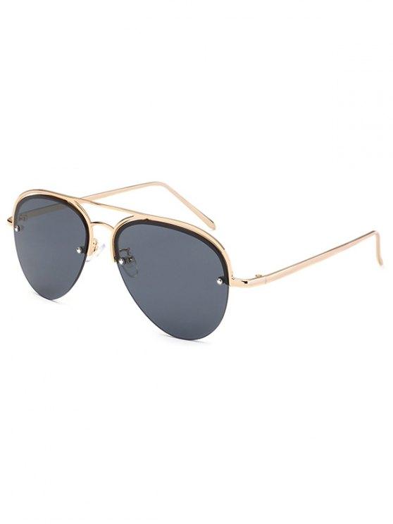 Half Frame Pilot Sunglasses - BLACK  Mobile