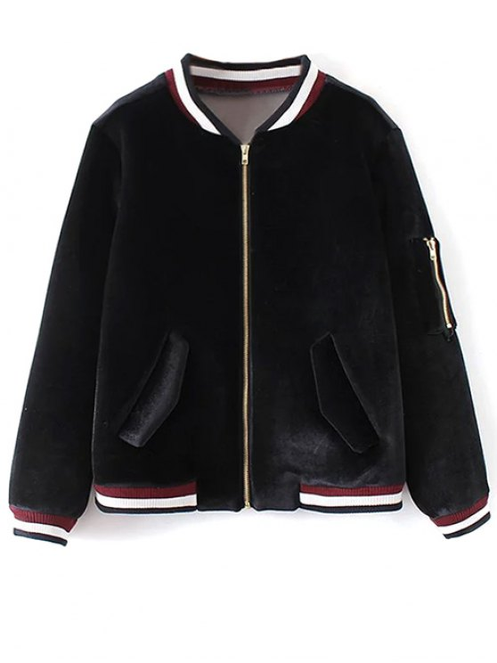 Velvet Zipped Bomber Jacket - BLACK M Mobile