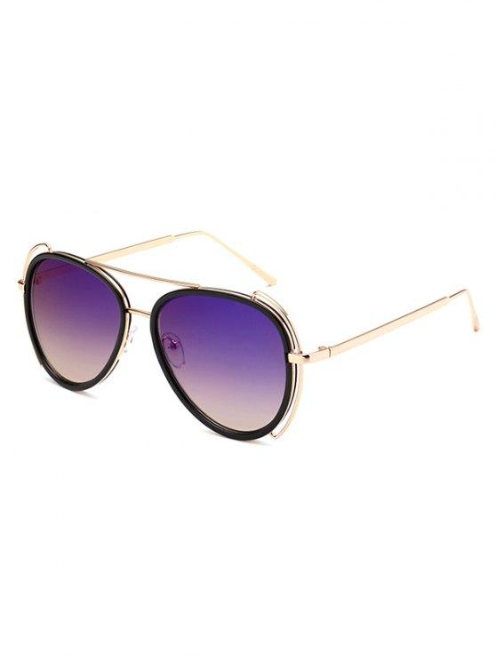 Hollow Out Frame Pilot Sunglasses - PURPLE  Mobile