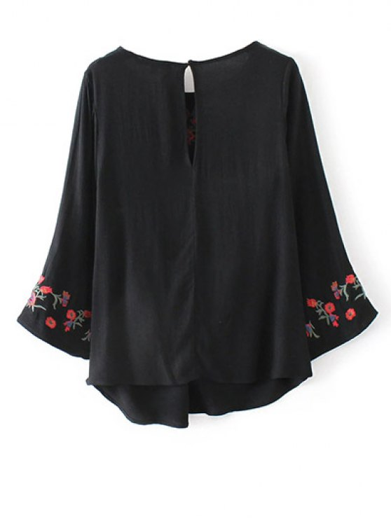 Flare Sleeve Floral Embroidered Blouse - BLACK M Mobile