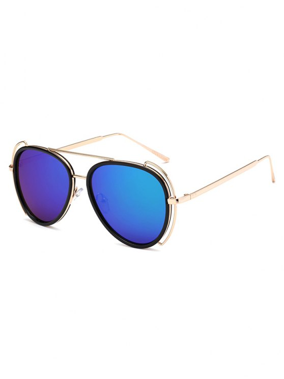 fashion Hollow Out Frame Pilot Mirrored Sunglasses - BLUE