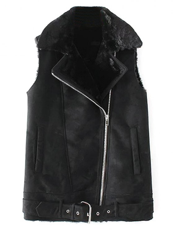 Zipped Faux Shearling Waistcoat - BLACK L Mobile
