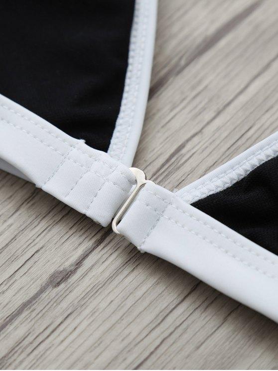Halter Leaf Printed Bikini Set - BLACK M Mobile