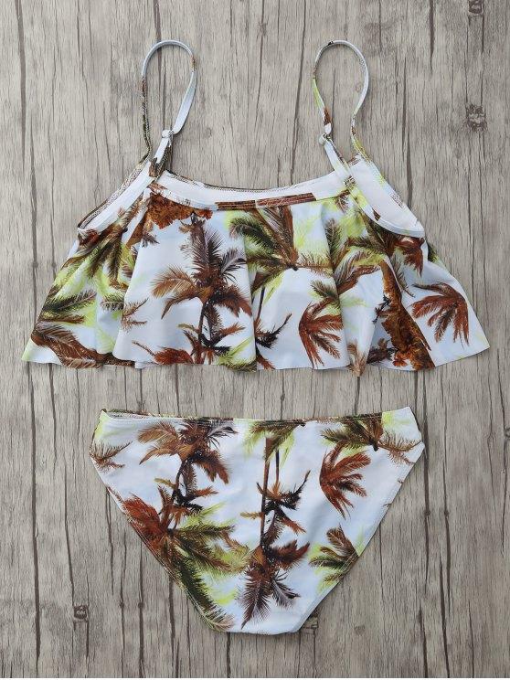 Coconut Palm Spaghetti Straps Padded Bikini - WHITE L Mobile