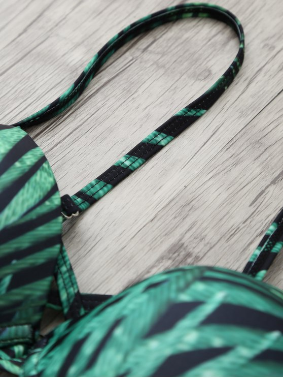 Printed Underwire Strappy Bikini - GREEN L Mobile