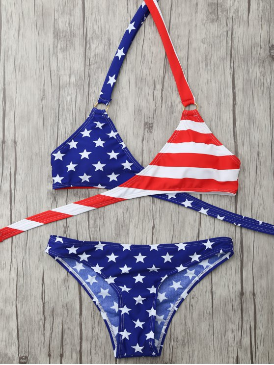Halter American Flag Wrap Bikini Set - BLUE S Mobile