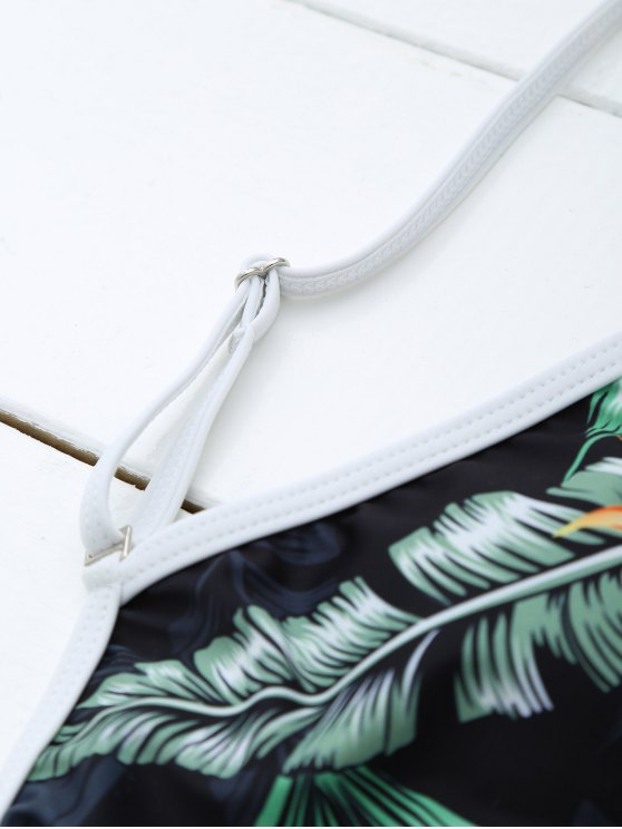 Backless Leaf Printed Swimwear - BLACK L Mobile