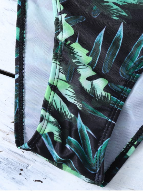 Printed Padded Spaghetti Strap Bikini - GREEN S Mobile