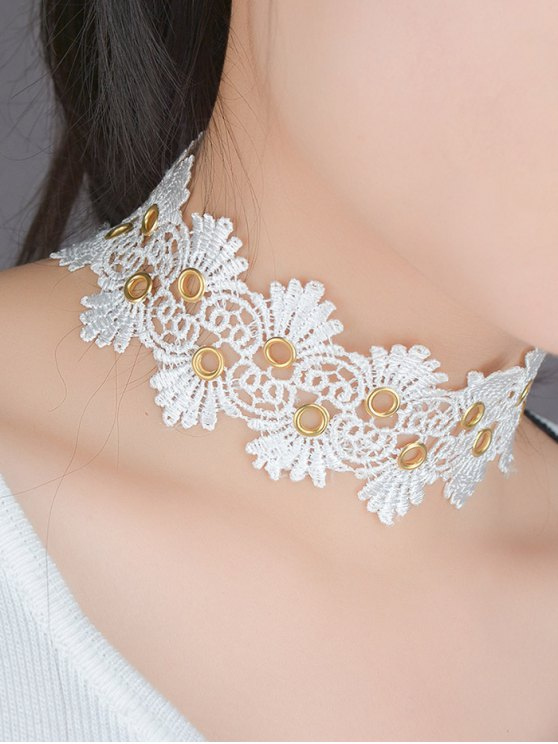 Lace Flower Choker - WHITE  Mobile