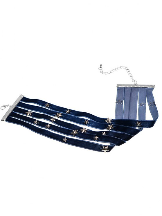 Multilayered Star Velvet Choker - CADETBLUE  Mobile