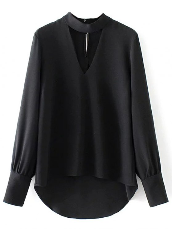 High Low Choker Blouse - BLACK M Mobile