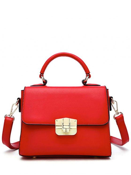 PU Leather Metal Crossbody Handbag - RED  Mobile