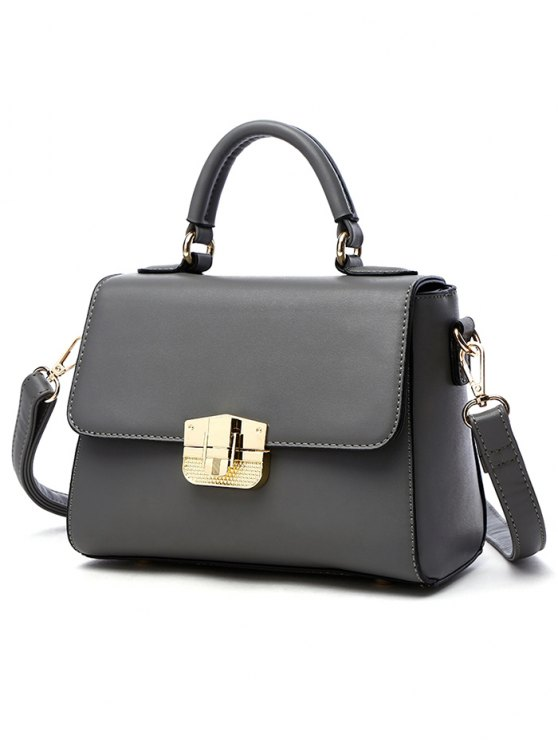 PU Leather Metal Crossbody Handbag -   Mobile