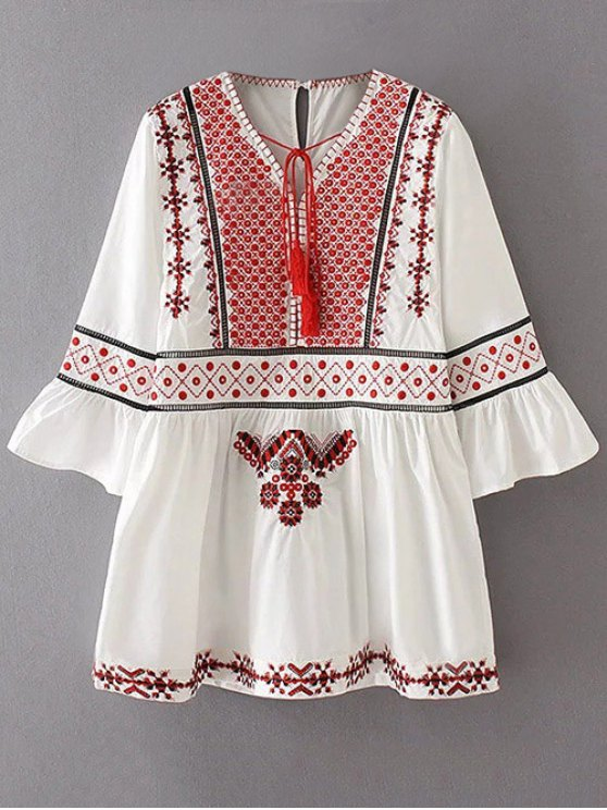 Flare Sleeve Embroidered A-Line Dress - WHITE L Mobile