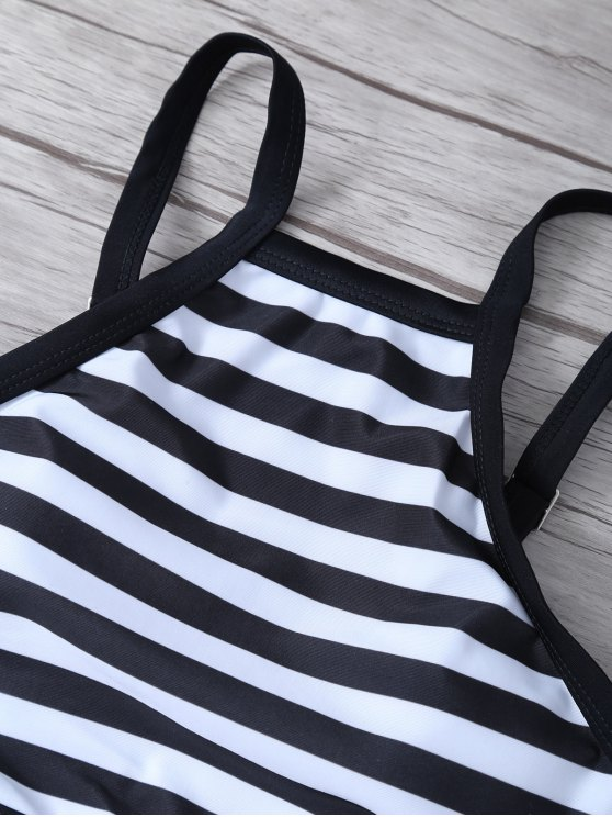 High Neck Stripe Bikini Set - WHITE AND BLACK S Mobile