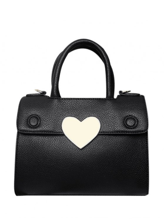 Metal Heart PU Leather Handbag - BLACK  Mobile