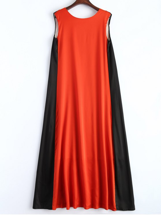 Color Block V Neck Trapeze Maxi Dress - MULTICOLOR XL Mobile