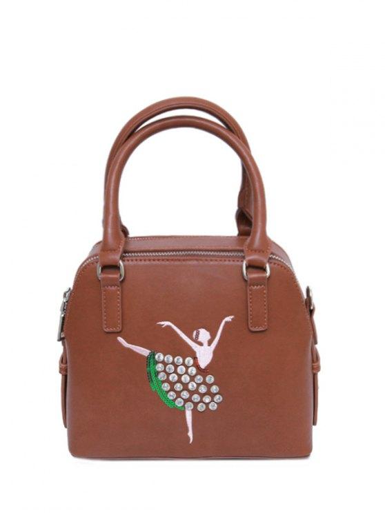 Sequined Rhinestones Zipper Tote Bag - BROWN  Mobile