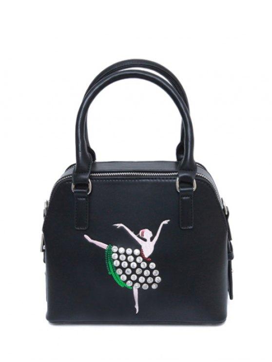 Sequined Rhinestones Zipper Tote Bag - BLACK  Mobile