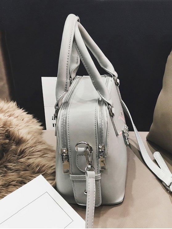 Sequined Rhinestones Zipper Tote Bag -   Mobile