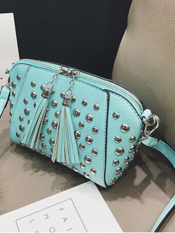 PU Leather Tassel Studded Clutch Bag - TIFFANY BLUE  Mobile