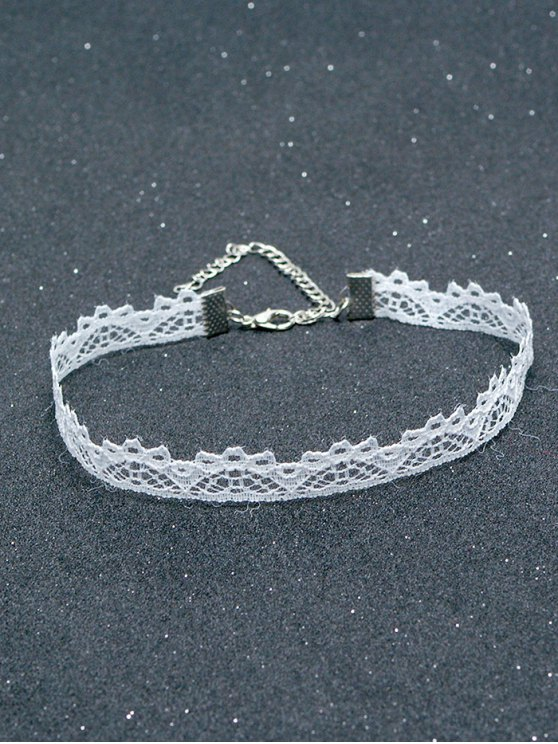 Lace Hollowed Choker - WHITE  Mobile