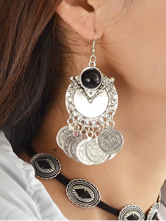 Disc Fringe Drop Earrings - SILVER  Mobile