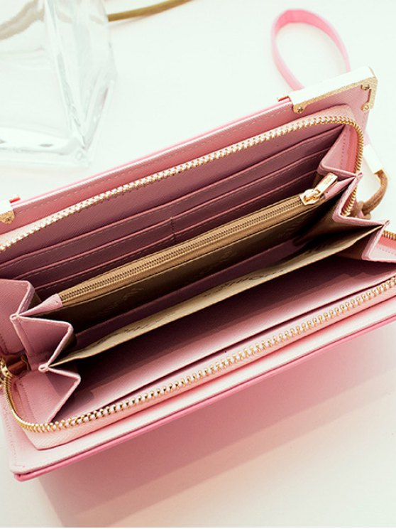 Woven PU Leather Clutch Wallet - PINK  Mobile