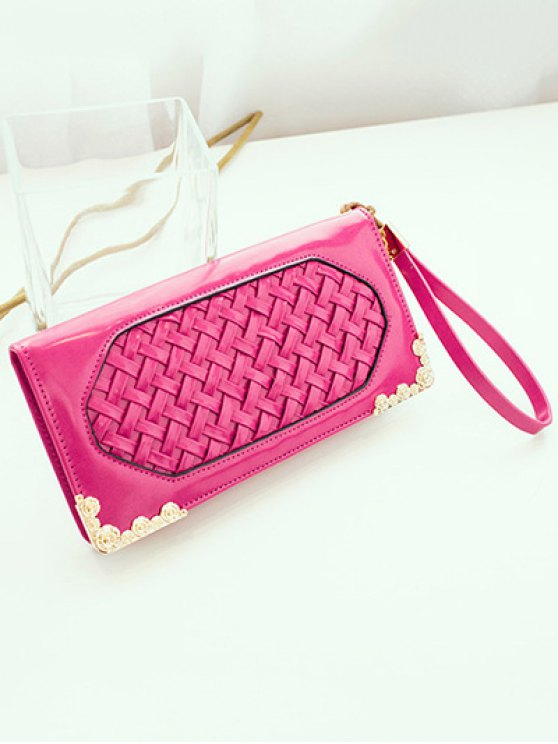 Woven PU Leather Clutch Wallet - ROSE MADDER  Mobile