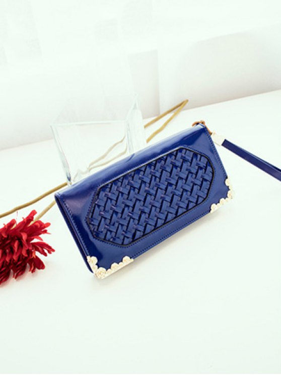 Woven PU Leather Clutch Wallet - BLUE  Mobile