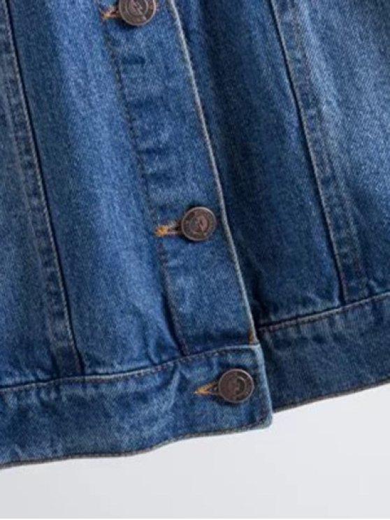 Flower Embroidered Pockets Denim Jacket - DENIM BLUE S Mobile