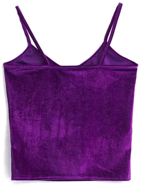 Velvet Cropped Cami Top - PURPLE ONE SIZE Mobile