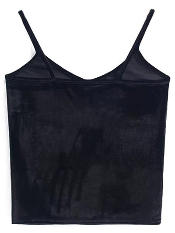 Velvet Cropped Cami Top - BLACK ONE SIZE Mobile