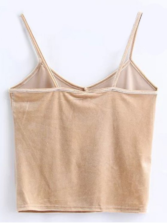 Velvet Cropped Cami Top - KHAKI ONE SIZE Mobile