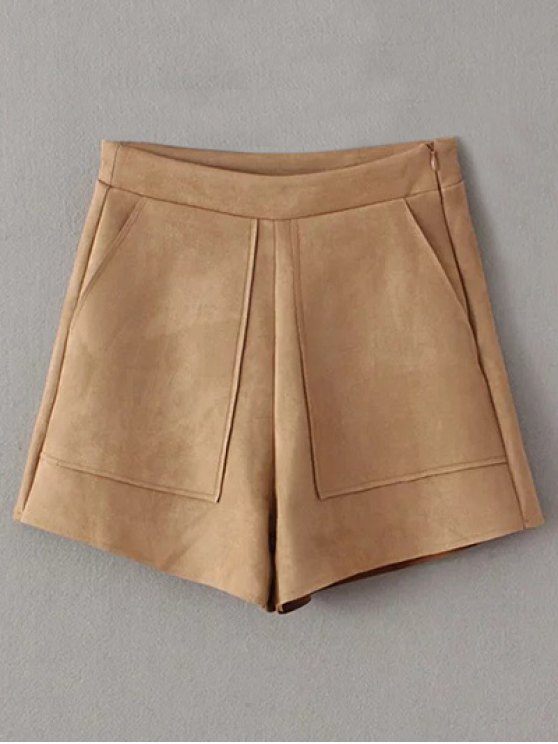 Suede Pockets Shorts - KHAKI L Mobile
