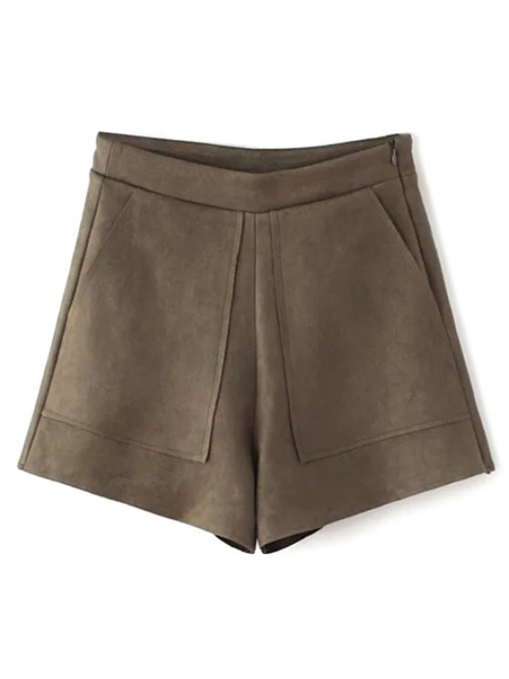 Suede Pockets Shorts - COFFEE L Mobile