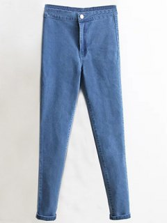 High Waist Skinny Tapered Jeans - Denim Blue L