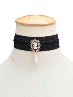 Faux Pearl Queenly Portrait Choker - Black
