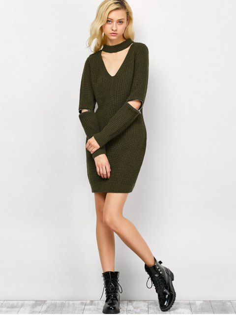 hot Choker Neck Mini Fitted Sweater Dress - ARMY GREEN M Mobile